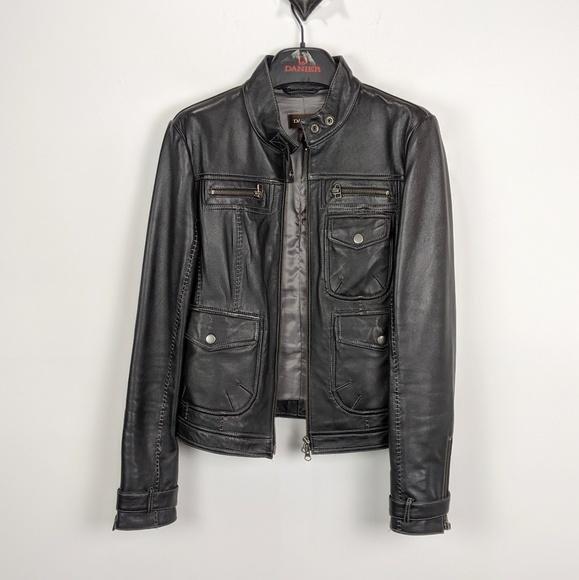 Danier Jackets & Blazers - Danier Leather Black Moto Jacket Size Small